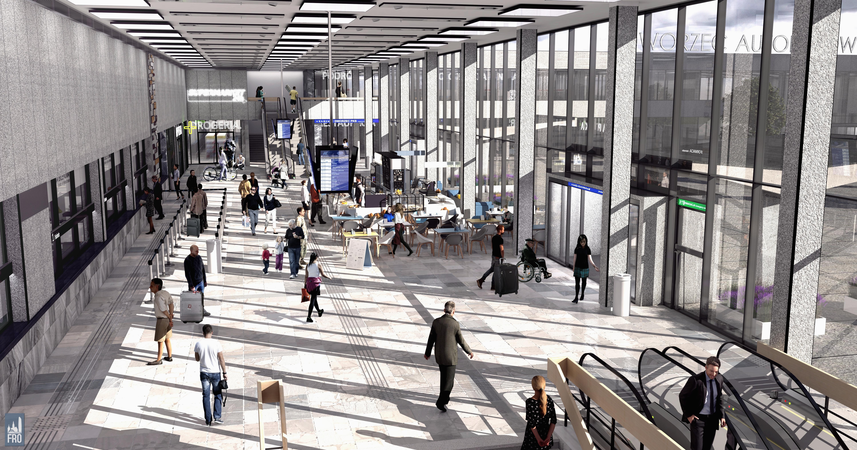 Dworzec Główny w Olsztynie - remont - hol główny z góry - wizualizacja części PKP