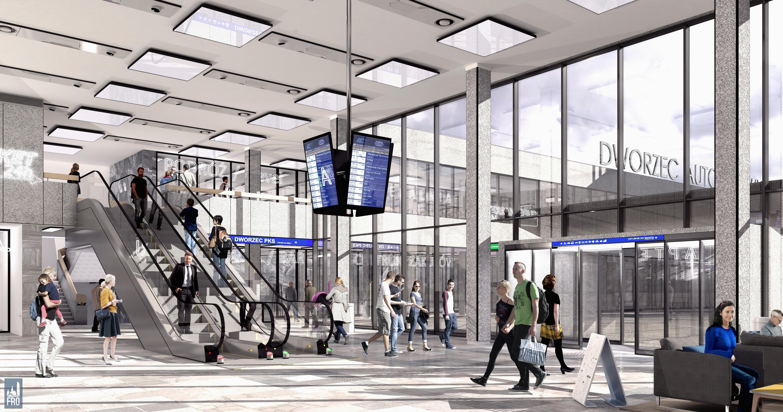 Dworzec Główny w Olsztynie - remont - hol główny i dworzec autobusowy - wizualizacja części PKP