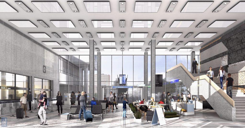 Dworzec Olsztyn Główny - remont - hala - wizualizacja - PKS - modernizm - zabytek