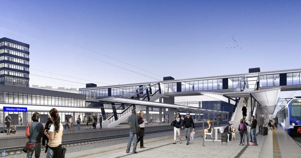 Dworzec Olsztyn Główny - perony oraz kładka na Zatorze - remont - wizualizacja