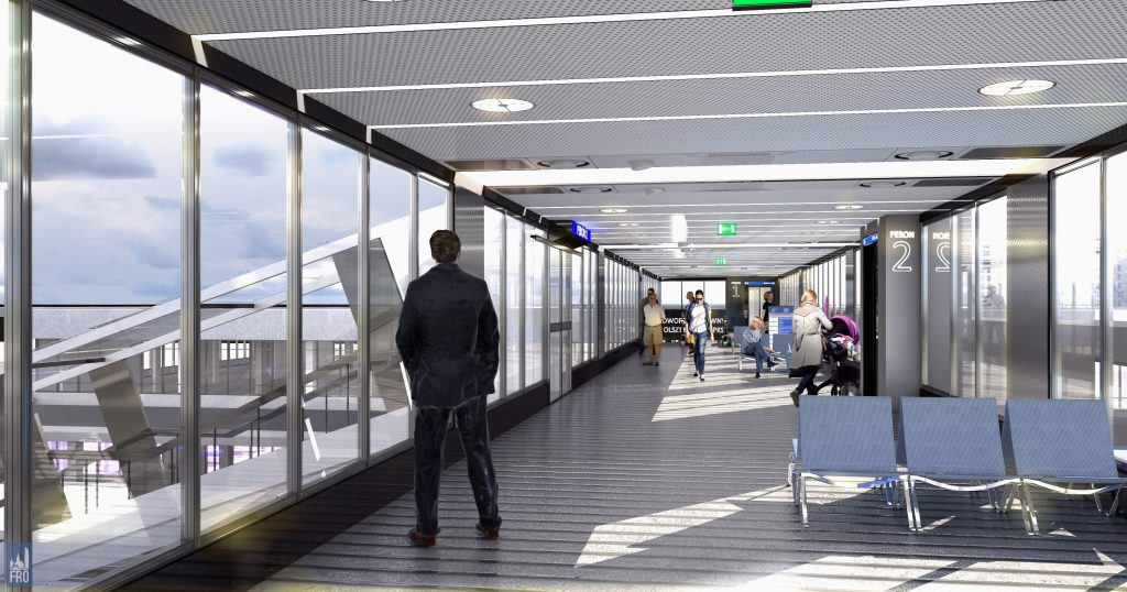 Dworzec Olsztyn Główny - wnętrze kładki na Zatorze - remont - wizualizacja