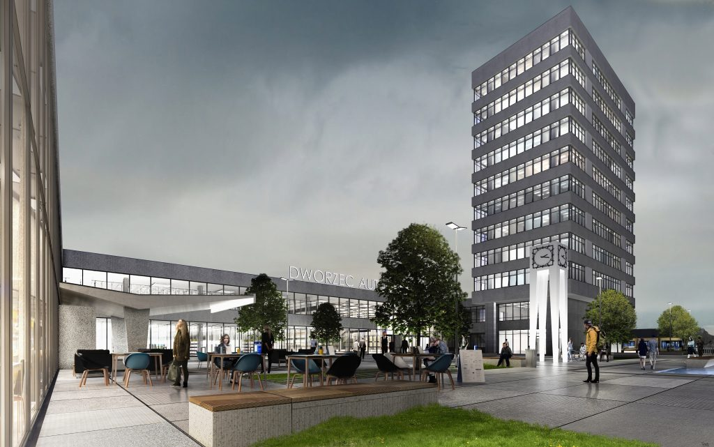 Dworzec Olsztyn Główny - remont - wizualizacja - modernizm - zabytek - plac - PKP