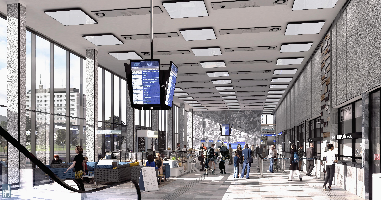 Dworzec Olsztyn Główny - remont - hol główny spod antresoli - wizualizacja części PKP