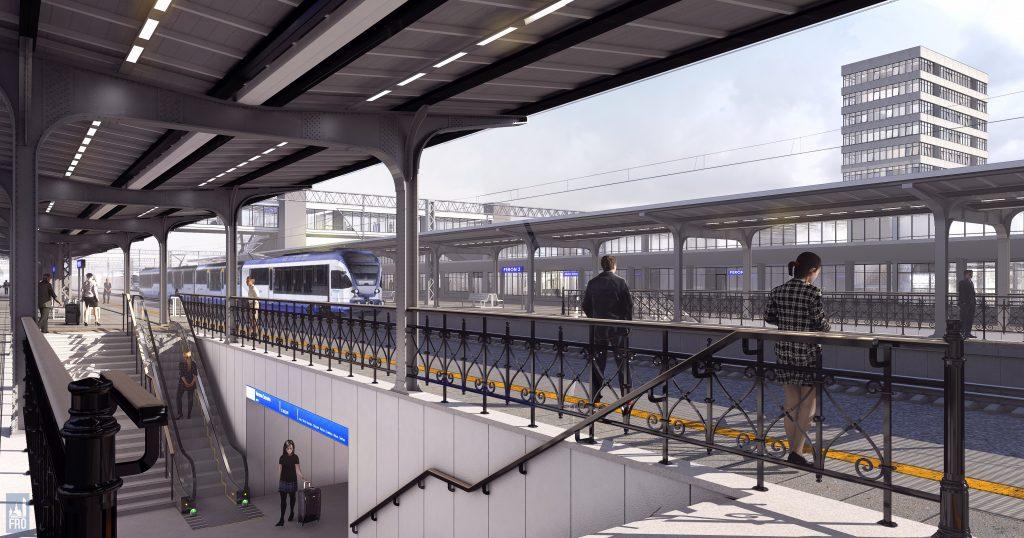Dworzec Olsztyn Główny - remont - hala - wizualizacja - PKP - modernizm - zabytek - kładka - Zatorze - przejście podziemne - perony