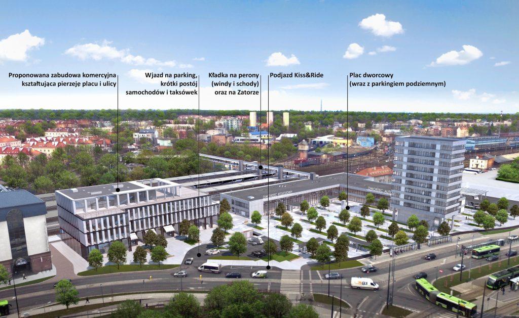 Dworzec Olsztyn Główny - remont - wizualizacja - modernizm - zabytek - plac - PKP - PKS